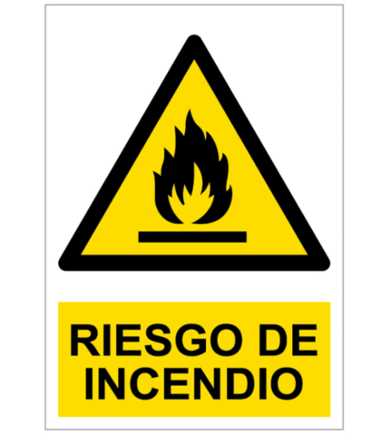 Señal / Cartel de Riesgo de incendio