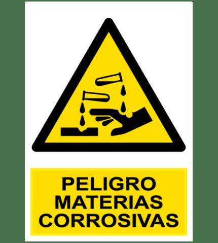 Señal / Cartel de Peligro. Materias corrosivas
