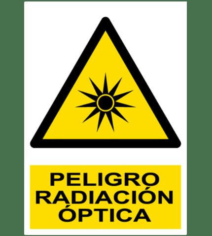 Señal / Cartel de Peligro. Radiación óptica