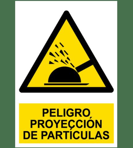 Señal / Cartel de Peligro. Proyección de partículas