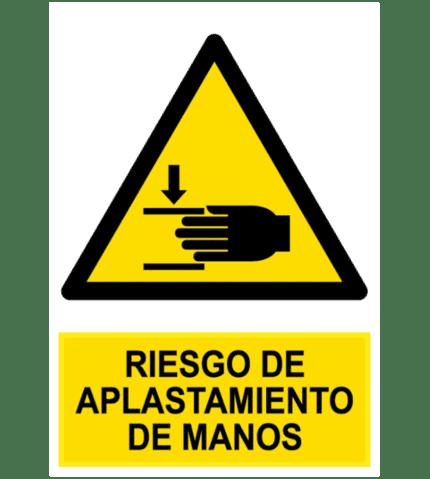 Señal / Cartel de Riesgo de aplastamiento de manos