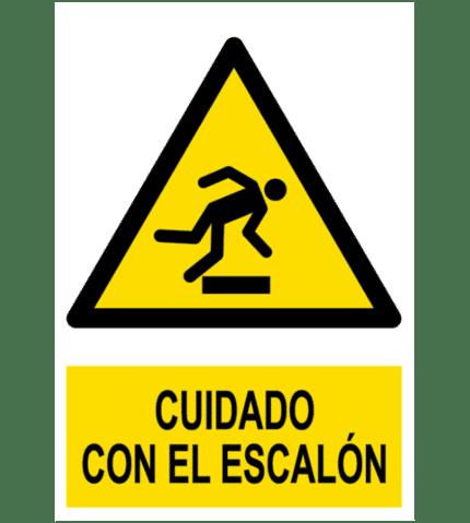 Señal / Cartel de Cuidado con el escalón