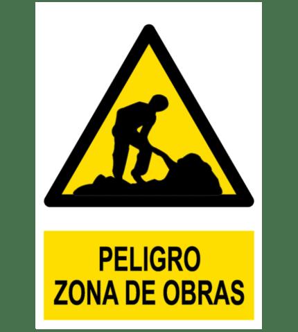 Señal / Cartel de Peligro. Zona de obras