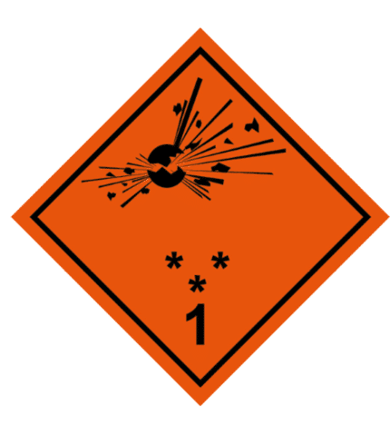 Señal de Riesgo de explosión. Divisiones 1.1 1.2 1.3