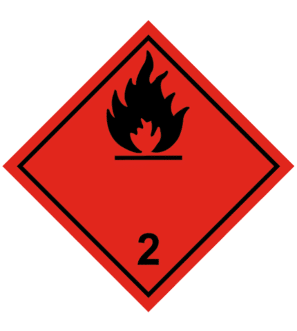 Señal de Gases inflamables. División 2.1. Llama negra