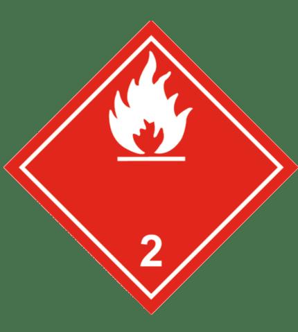 Señal de Gases inflamables. División 2.1. Llama blanca