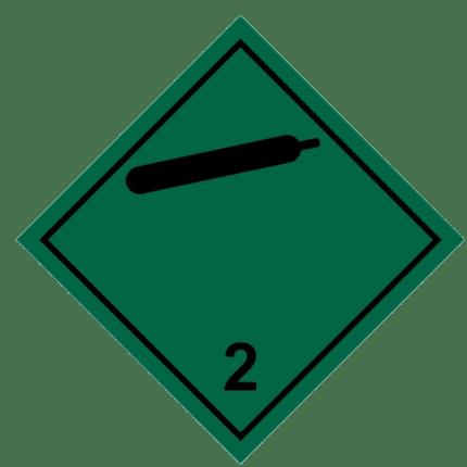 Señal de Gas no inflamable no tóxico. División 2.2. Negra