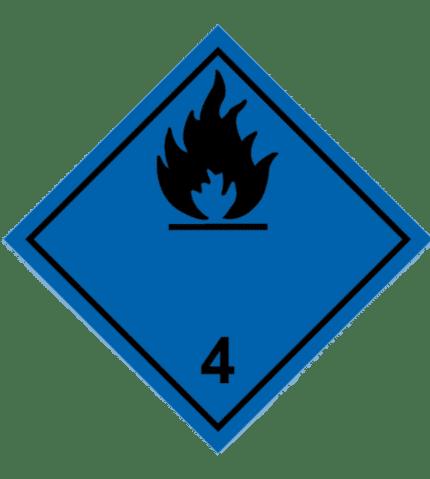 Señal de Materia contacto agua gas inflamable. Negra