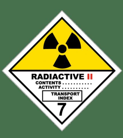 Señal de Materias radiactiva. Categoría II