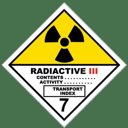 Señal de Materias radiactivas. Categoría III