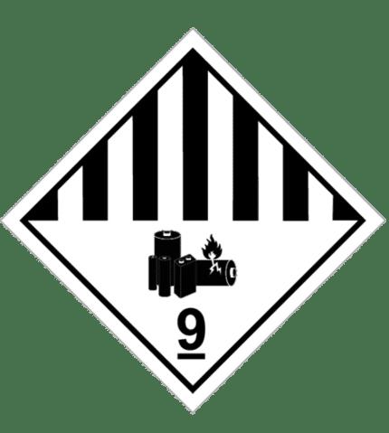 Señal de Materias objetos peligrosos diversos. Pila litio