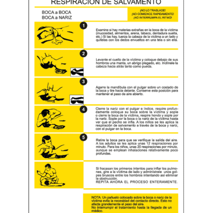 Cartel informativo de Respiración de salvamento