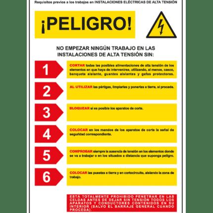 Cartel informativo de Peligro instalaciones alta tensión