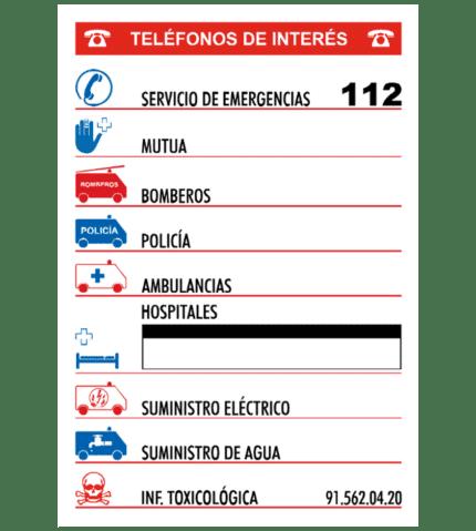Cartel informativo de Teléfonos de interés