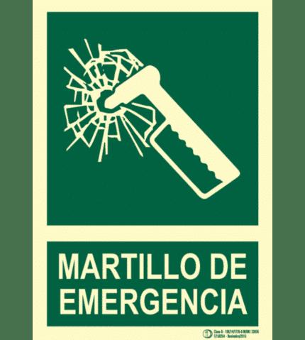 Señal / Cartel de Martillo de emergencia. Clase B