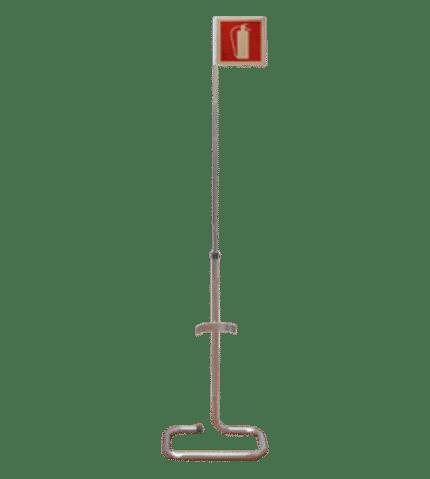 Soporte extintor suelo cromado con señal