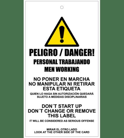 Tarjeta de bloqueo de Peligro. Personal trabajando
