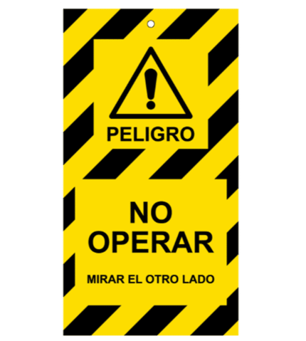 Tarjeta de bloqueo de Peligro. No operar. 2 caras