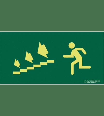 Señal / Cartel de Salida escalera evacuación. Clase A