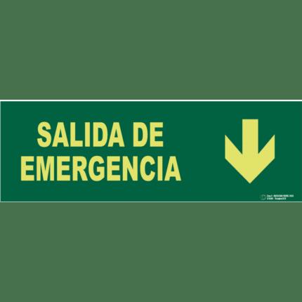 Señal / Cartel de Salida emergencia con flecha. Clase A