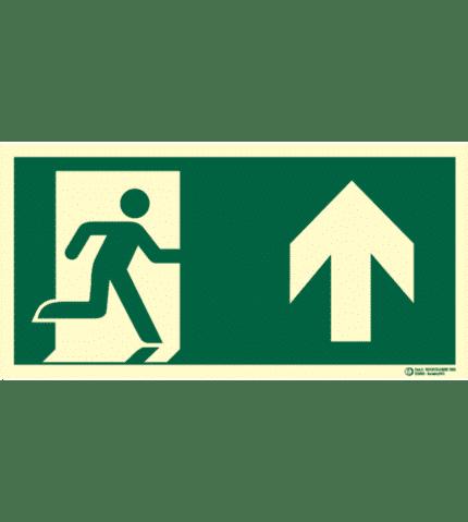 Señal / Cartel evacuación con flecha. Clase B