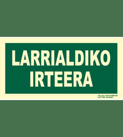Señal / Cartel Larrialdiko irteera. Monolingüe Clase B