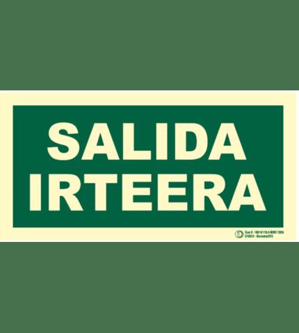Señal / Cartel de Irteera / Salida. Bilingüe Clase B