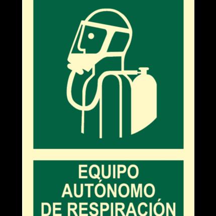 Señal / Cartel de Equipo de respiración autónomo. Clase B