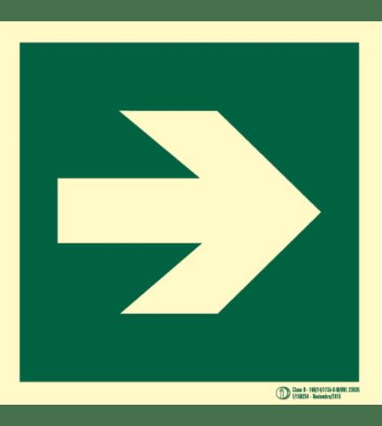 Señal / Cartel de Flecha de evacuación. Clase B