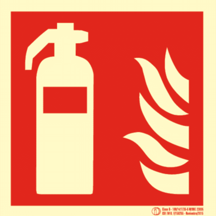 Señal / Cartel de Extintor luminiscente. Clase B.