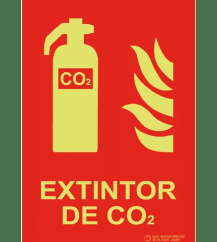 Señal / Cartel de Extintor CO2 luminiscente. Clase A