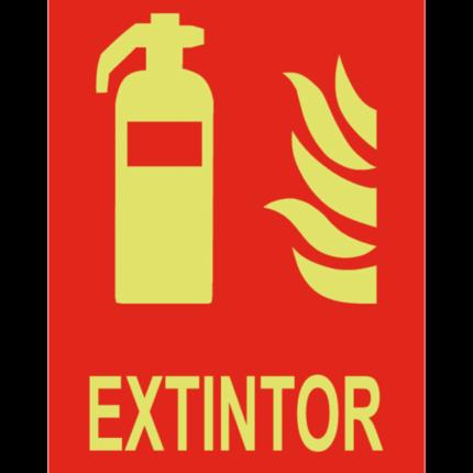 Señal / Cartel de Extintor luminiscente. Clase A
