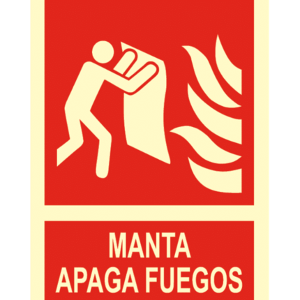 Señal / Cartel de Manta ignífuga. Clase B
