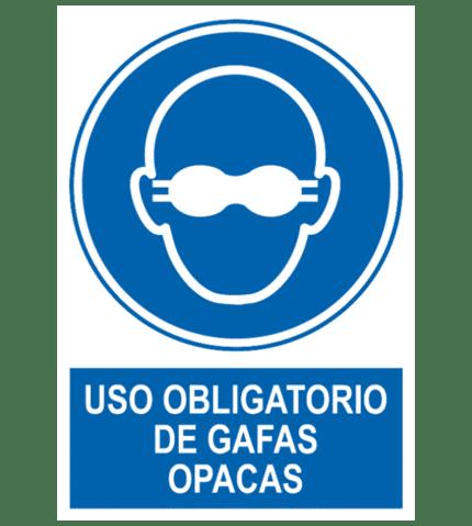 Señal / Cartel de Uso obligatorio de gafas opacas