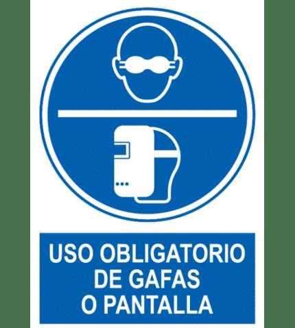 Señal / Cartel de Uso obligatorio de gafas o pantalla