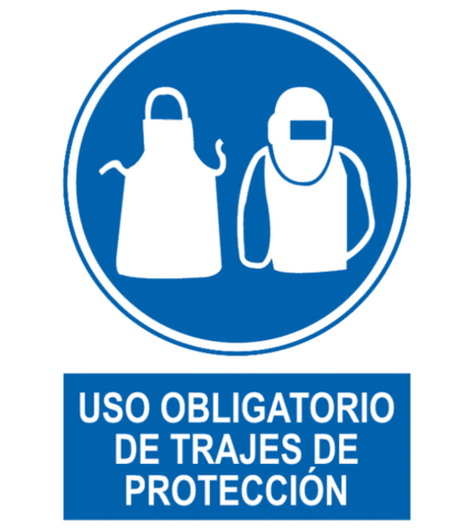 Señal / Cartel de Uso obligatorio de trajes protección