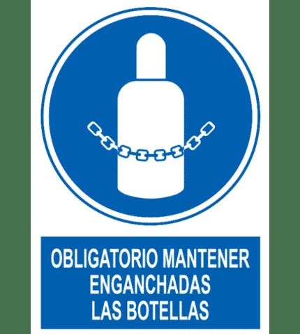 Señal / Cartel de Obligatorio botellas enganchadas