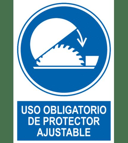Señal / Cartel de Uso obligatorio de protector ajustable