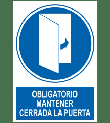 Señal / Cartel de Obligatorio mantener la puerta cerrada