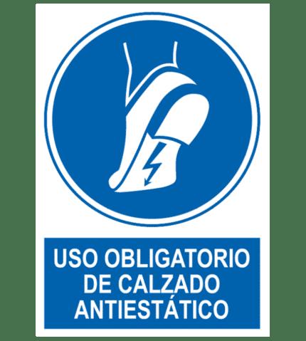 Señal / Cartel de Uso obligatorio de calzado antiestático