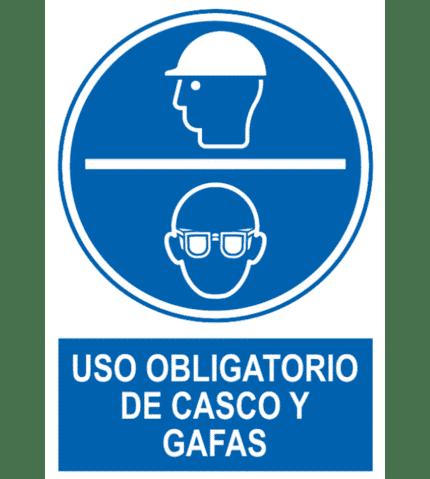 Señal / Cartel de Uso obligatorio de casco y gafas