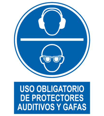 Señal / Cartel de Obligatorio protectores auditivos gafas