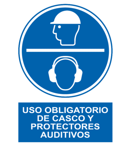 Señal / Cartel de Obligatorio casco protectores auditivos
