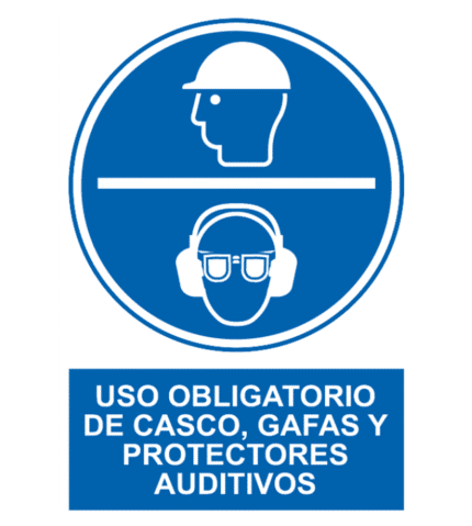 Señal / Cartel de Obligatorio casco gafas protectores auditivos