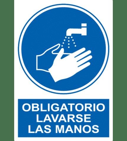 Señal / Cartel de Obligatorio lavarse las manos
