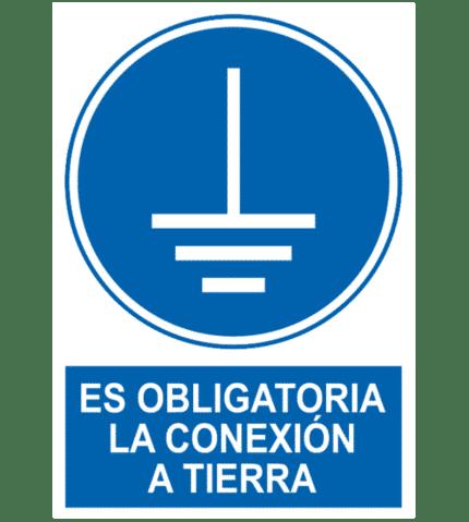 Señal / Cartel de Es obligatoria la conexión a tierra