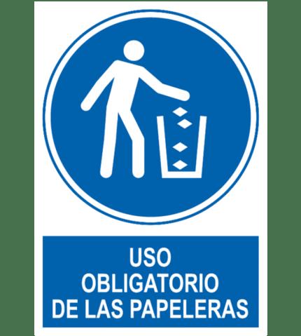 Señal / Cartel de Uso obligatorio de las papeleras