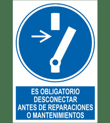 Señal / Cartel de Obligatorio desconectar reparaciones