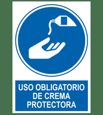 Señal / Cartel de Obligatorio de crema protectora
