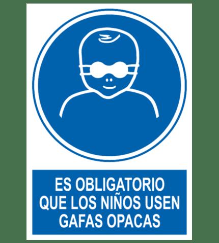 Señal / Cartel de Obligatorio niños gafas opacas